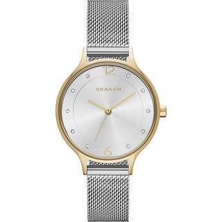 Skagen Women's Anita Silver Dial Watch with Stainless Steel Mesh Bracelet