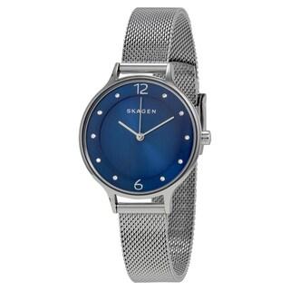 Skagen Women's Anita Blue Dial Silver Mesh Bracelet Watch