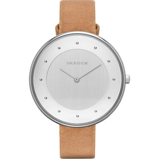 Skagen Women's Gitte Silver Dial Brown Leather Watch