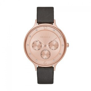 Skagen Women's Anita Rose Chronograph Dial Grey Leather Watch