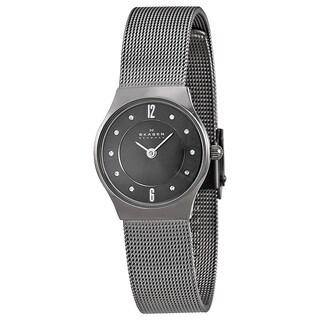 Skagen Women's Slimline Grey Dial Titanium Mesh Bracelet Watch
