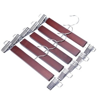 J.S. Hanger Wood Skirt Hangers/ Wooden Pants Hangers with Chrome Hardware (Pack of 5)