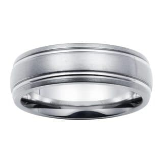 Boston Bay Diamonds Men's 7MM Comfort Fit Titanium Ring Wedding Band w/ Framed Channel Accent