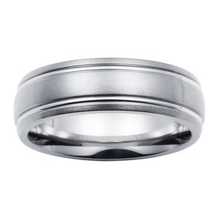 Boston Bay Diamonds Men's 7MM Comfort Fit Titanium Wedding Band Ring w/ Framed Channel Accent
