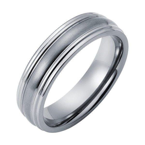 Size 5 to 15 Double Accent 6MM Comfort Fit Titanium Wedding Band Brushed Center Polish Beveled Edge CZ Titanium Ring