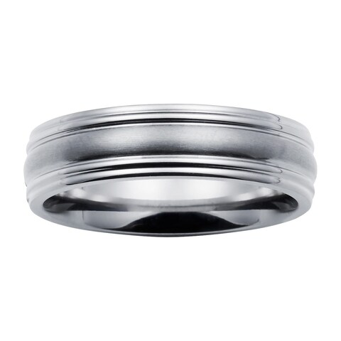 Boston Bay Diamonds Men's 6MM Comfort Fit Titanium Wedding Band Ring w/ Framed Channel Accent
