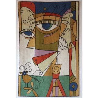 Geo Women Handmade Wool and Cotton Contemporary Tapestry (India)
