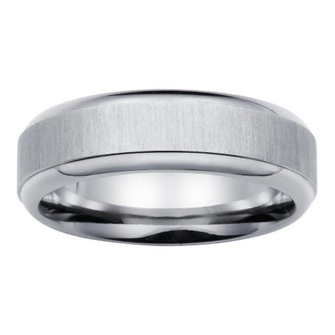 Boston Bay Diamonds Men's 7MM Comfort Fit Titanium Wedding Band Ring w/ Raised Center