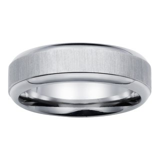Boston Bay Diamonds Men's 7MM Comfort Fit Titanium Wedding Band Ring w/ Raised Center - White