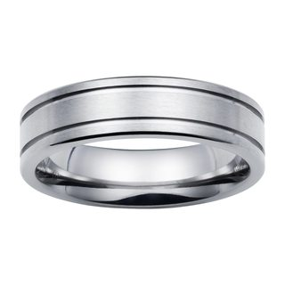Boston Bay Diamonds Men's 6MM Comfort Fit Titanium Ring Wedding Band w/ Double Channel Accent - White