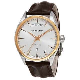 Hamilton Men's H42525551 'Jazzmaster' Silver Dial Brown Leather Strap Day Date Swiss Automatic Watch