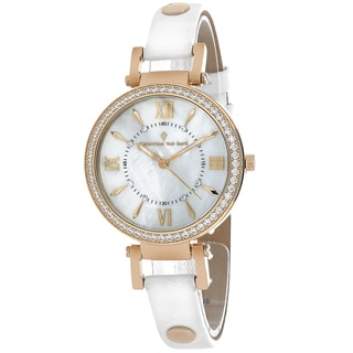 Christian Van Sant Women's CV8131 Petite Round White Leather Strap Watch