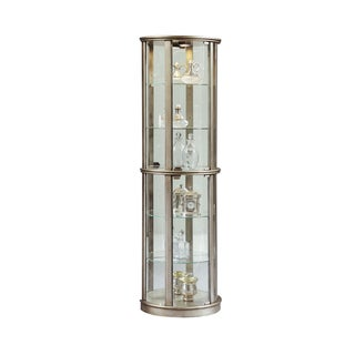 Silver Wood Half-round Curio Cabinet - 22 x 12 x 72