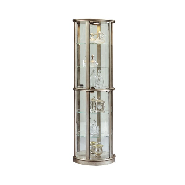 Silver Wood Half Round Curio Cabinet On Free Shipping Today 11582765