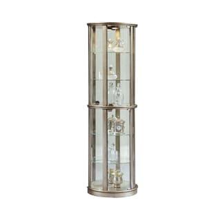 Silver Wood Half-round Curio Cabinet