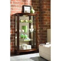 Brown Finish Mantel Height Curio Cabinet