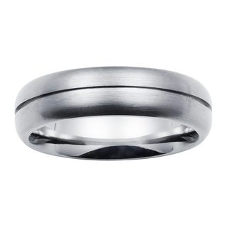 Boston Bay Diamonds Men's 6MM Comfort Fit Titanium Ring Wedding Band w/ Channel Accent - White