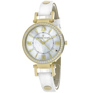 Christian Van Sant Women's CV8132 Petite Round White Leather Strap Watch