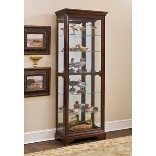 Furniture of America Lawson Dark Walnut Glass Curio Cabinet - Free ...
