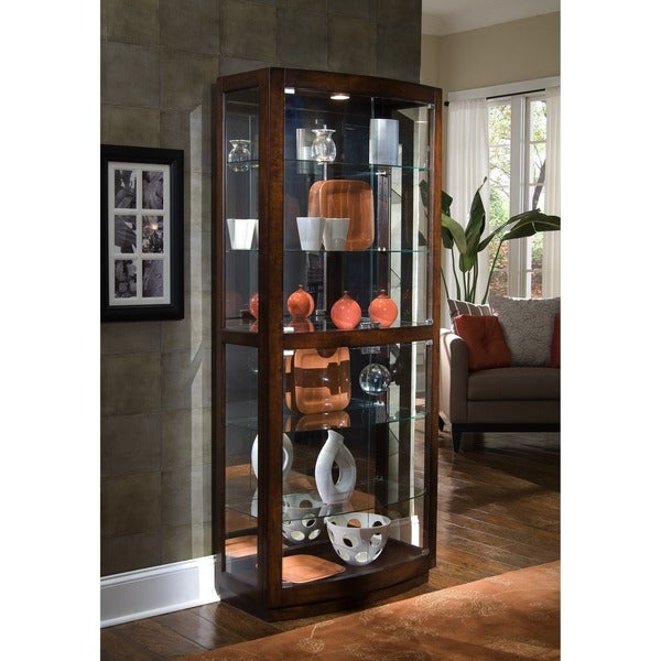 Brown Finish Transitional Front 2 Door Glass Curio Cabinet Free