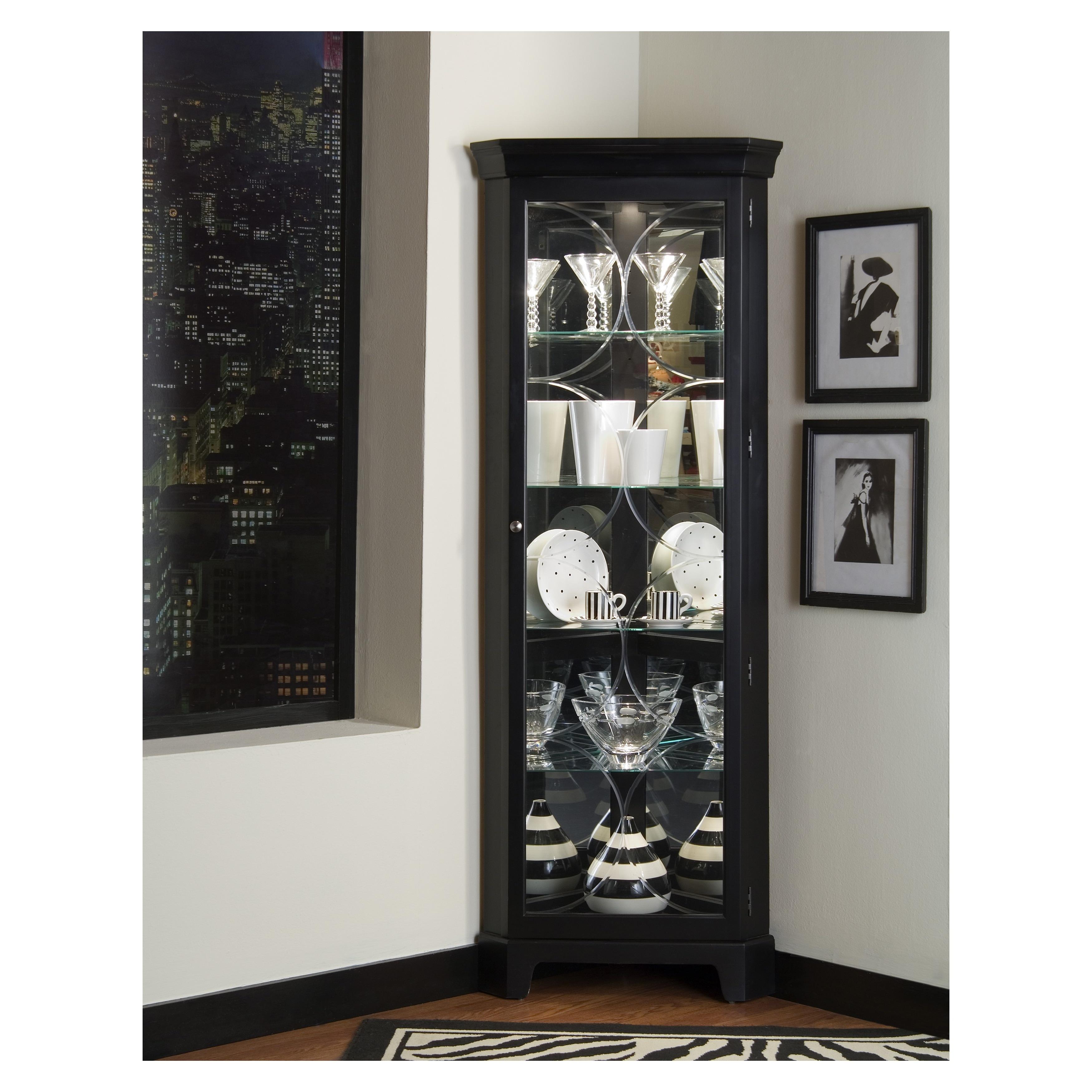 Oxford Black Corner Curio Cabinet (Curio Cabinet)