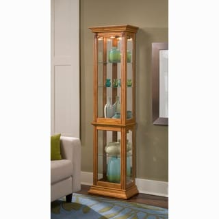 Oak Finish Side Door Entry Curio Cabinet