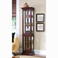 Brown Finish Side Door Entry Curio Cabinet