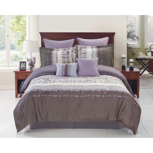 Hudson Grey/ Purple Reversible Comforter Set