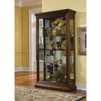 Brown Finish Two-way Slider Curio Cabinet