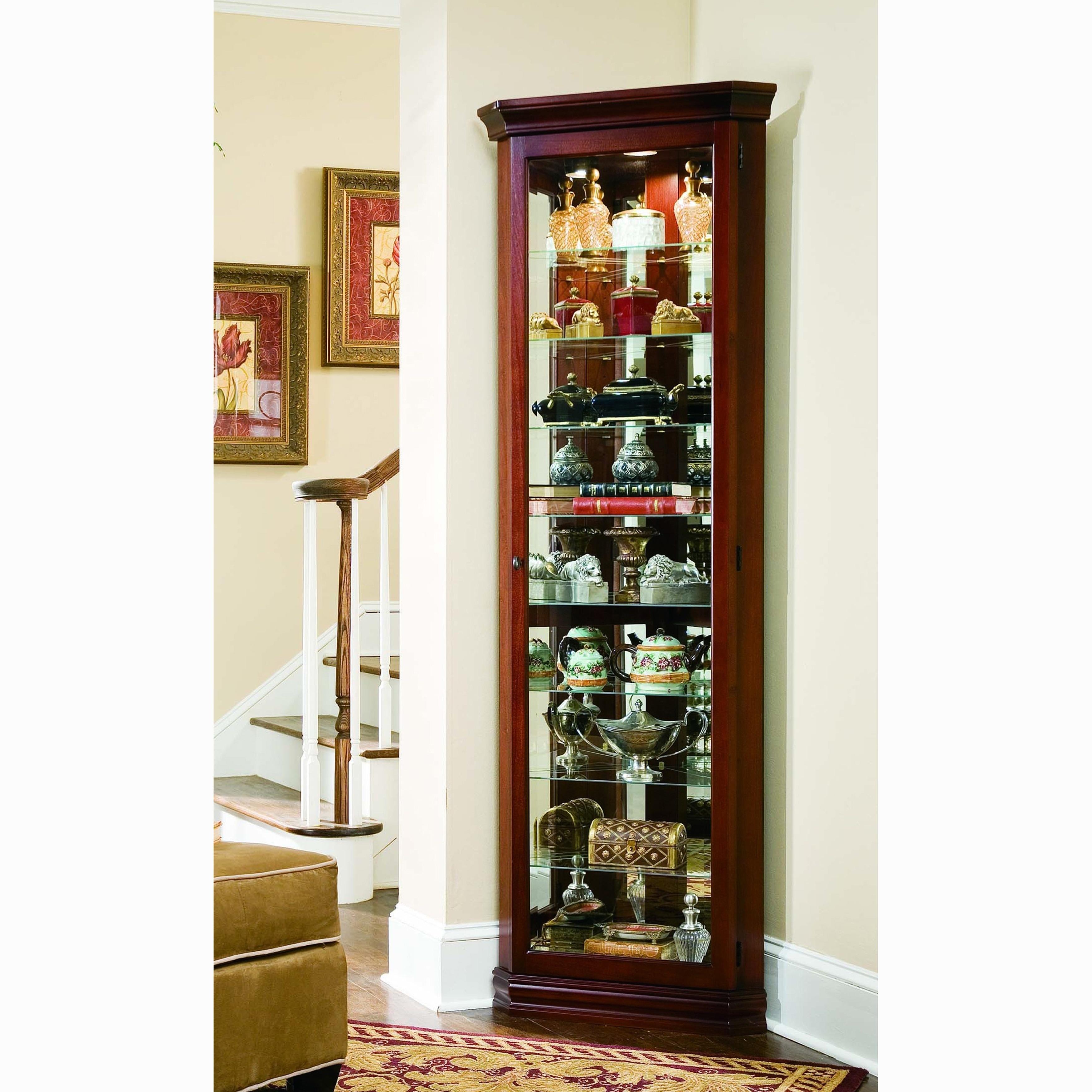 Victorian Cherry Corner Curio Cabinet (Curio Cabinet), Brown