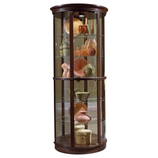 Brown Finish Half-round Curio Cabinet