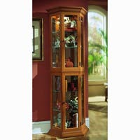Oak Finish Canted Front Curio Cabinet