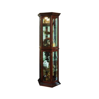 Brown Finish Canted Front Curio Cabinet