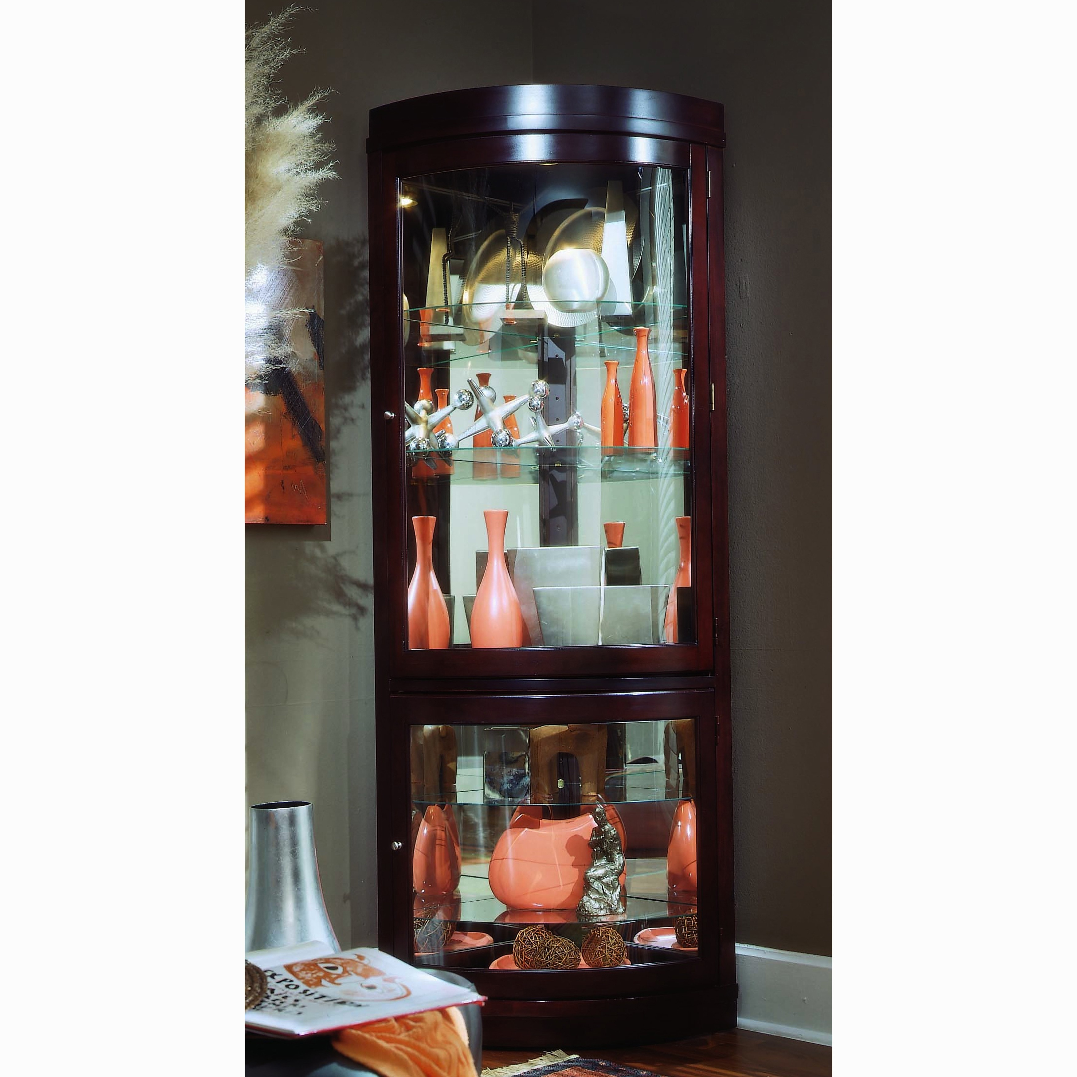 Unbranded Chocolate Cherry Curved Front Corner Curio Cabi...