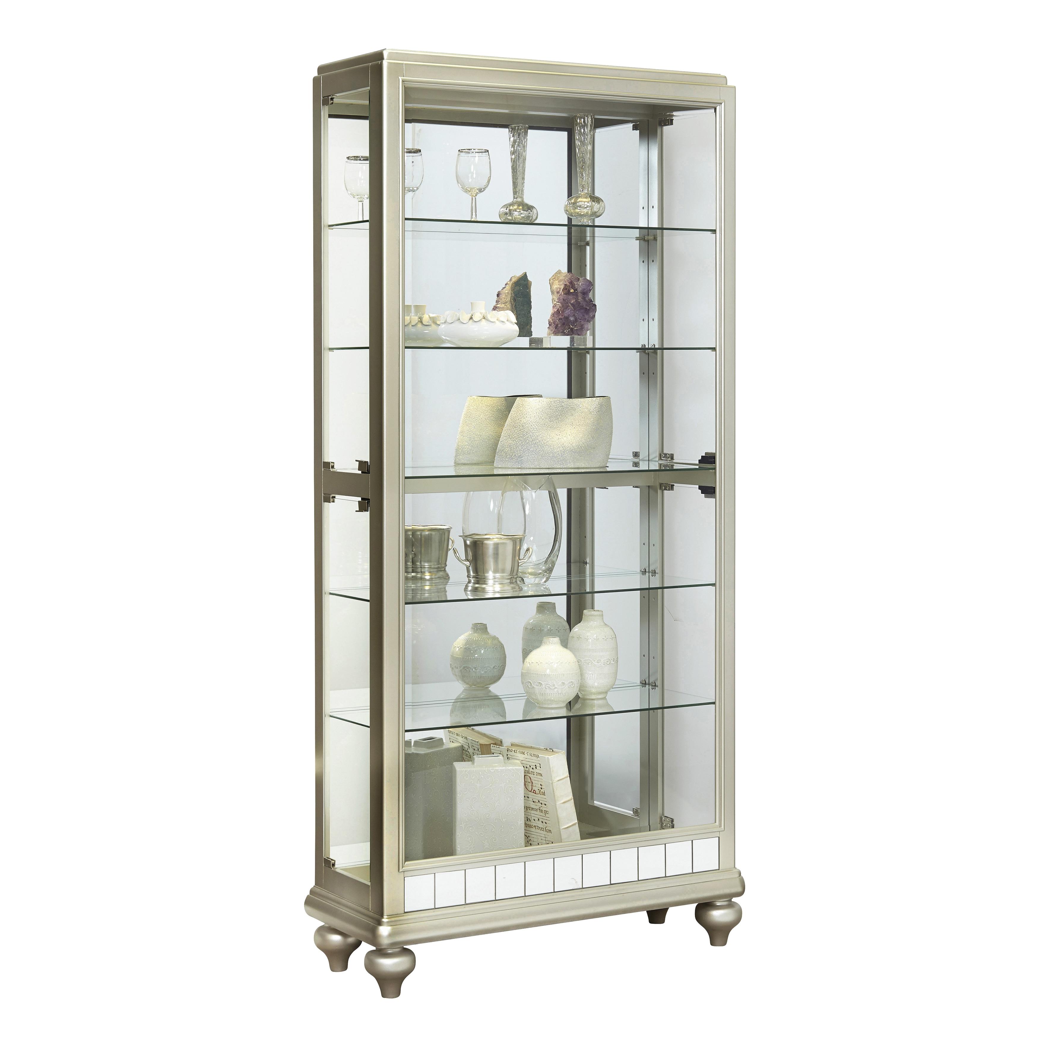 Silver Wood Mirror Curio Side Door Entry Curio Cabinet (C...