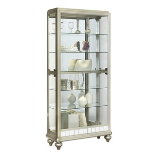 Silver Wood Mirror Curio Side Door Entry Curio Cabinet