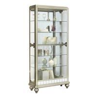 Silver Wood Mirror Curio Side Door Entry Curio Cabinet