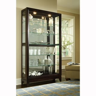 Chocolate Cherry Finish Two-way Sliding Door Curio Cabinet