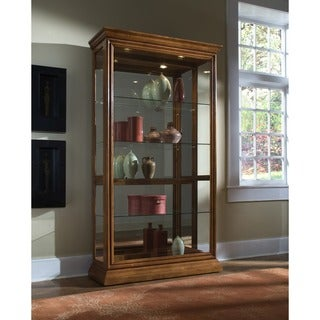 Golden Oak Two-way Sliding Door Curio Cabinet