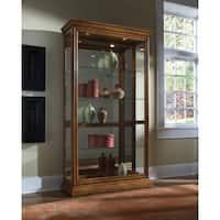 Golden Oak Two-way Sliding Door Curio Cabinet