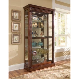 Medallion Cherry Finish Two-way Sliding Door Curio Cabinet