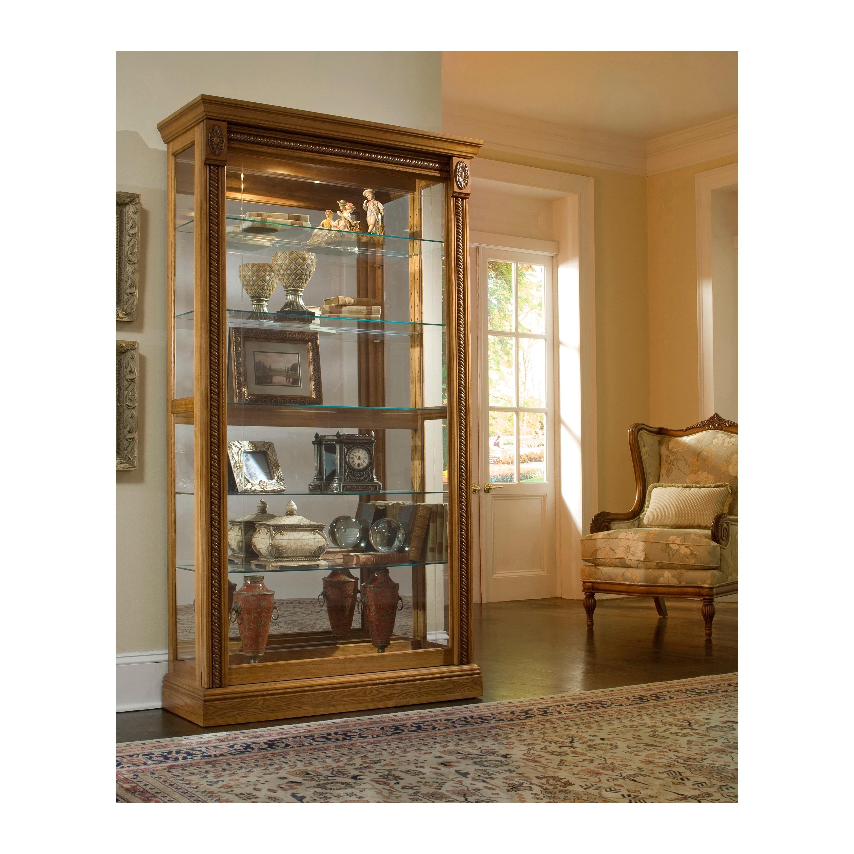 Natural Estate Oak Finish Two Way Sliding Door Curio Cabinet Overstock 11582817