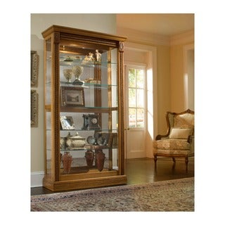 Natural Estate Oak Finish Two-way Sliding Door Curio Cabinet
