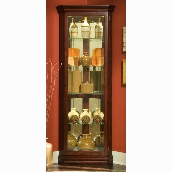 Dark Victorian Cherry Corner Curio Cabinet