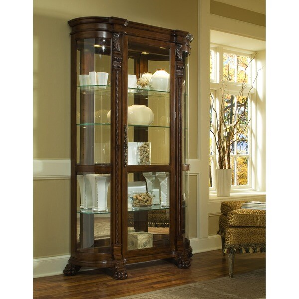 Brown Finish Half Round Curio Cabinet