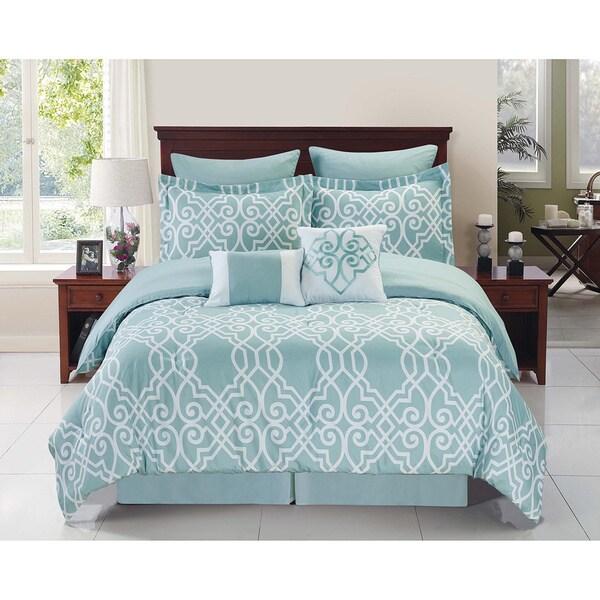 Dawson Blue and White 8-piece Reversible Comforter Set