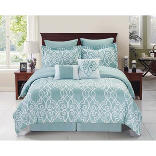 Dawson Blue and White 8-piece Reversible Comforter Set