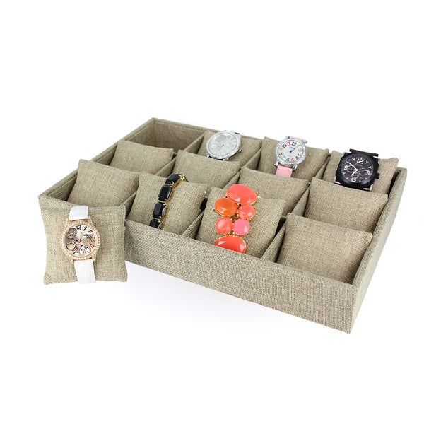 Caddy Bay Collection Burlap 12 Watch Tray