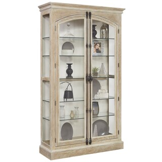 Light Brown/ Natural Finish Two Front Door Opening Curio Cabinet