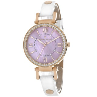 Christian Van Sant Women's CV8133 Petite Round White Leather Strap Watch